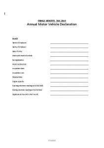 Fbt Annual Motor Vehicle Declaration 2020